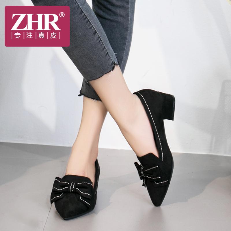 ZHR2018春季新款尖头单鞋韩版休闲鞋蝴蝶结中跟女鞋黑色工作鞋潮Y32