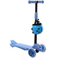儿童滑板车2-3-6岁3轮溜溜车男女孩单脚划板车滑滑车四轮初学者 闪光轮 蓝色
