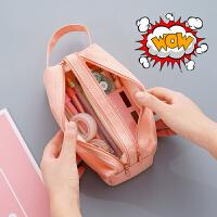 大容量笔袋帆布简约少女 小学生初中高中生韩国ins可爱铅笔文具盒