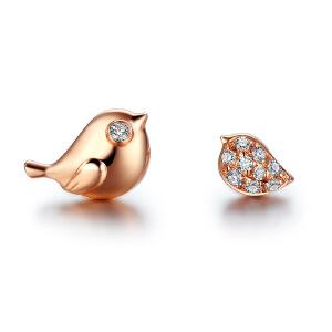 佐卡伊玫瑰18k金钻石耳钉耳坠时尚群镶耳饰女小鹊幸系列