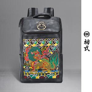 初�q中国风潮牌街头男女情侣玉麒麟刺绣双肩包电脑背书包41168