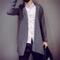韩版秋季男装卫衣休闲男士中长款开衫连帽外套潮流薄款棒球服