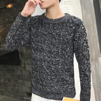 秋冬季男士毛衣保暖圆领针织衫韩版修身纯色毛线衣学生百搭外套潮