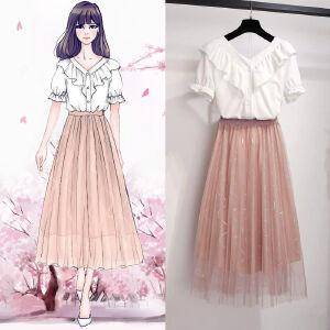 安妮纯2019春夏季新款女装时尚七分袖条纹收腰中长款连衣裙子9278