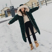 中长款时尚棉衣女2018冬韩版潮流仿羊羔毛领加厚丝绒棉衣女外套 墨绿色