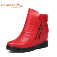 红蜻蜓女靴厚底内增高真皮短靴女优雅职业粗跟女靴子