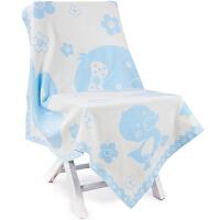 三利 纯棉针织 A类 提花亲肤童被 新生儿裹巾 襁褓抱被 婴儿盖毯 90x110cm