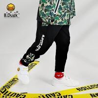 【4折价:127.6】B.duck小黄鸭童装 新款洋气男童裤子纯棉运动休闲潮牌长裤BF3063908