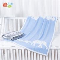 贝贝怡宝宝针织盖毯婴幼儿午睡毯子卡通印花浴巾包巾裹毯
