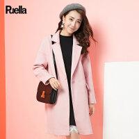 粉红色呢子外套女装春季新款韩版中长款宽松休闲纯色直筒毛呢大衣
