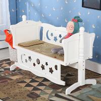 婴儿床实木婴儿摇篮床宝宝床摇床带滚轮新生儿