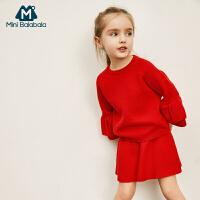 【2件3.8折】迷你巴拉巴拉女童针织长袖套装2019春新款童装宝宝时尚裙子两件套