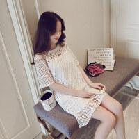 夏季新款A字裙套装显瘦打底裙 两件套圆领镂空中长裙短袖连衣裙女 白色 两件套