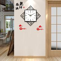 中式钟表挂钟客厅亚克力菱形时钟创意时钟石英钟