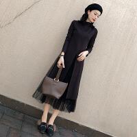 安妮纯套装女2020新款韩版秋冬打底裙时尚网纱半身裙修身两件套连衣裙女