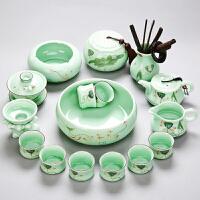 青瓷茶具套装功夫茶具陶瓷家用简约喝茶茶艺手绘荷花盖碗茶壶茶杯工艺品居家