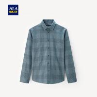HLA/海澜之家格纹休闲长袖衬衫2019秋季新品舒适色织长袖衬衫男