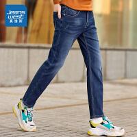 [秒杀价:97.9元,秒杀狂欢再续仅限4.6-4.10]真维斯牛仔裤男2019冬装新款时尚弹力修身显瘦加绒加厚休闲牛仔
