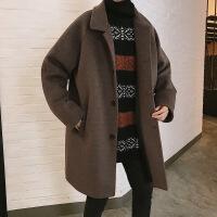 2018毛呢大衣男潮流中长款外套秋冬季英伦风帅气韩版潮牌呢子风衣 2X