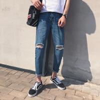 日系复古破洞男士夏季牛仔裤潮男韩版学院风九分裤乞丐裤2018新款