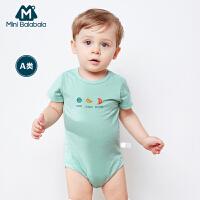 迷你巴拉巴拉婴童三角衣年夏装新款男女宝宝短袖印花包屁衣