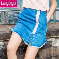 Lagogo2017秋季新款时尚字母甜美牛仔裙半身裙女刺绣短裙a字裙