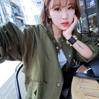 风衣女中长款原宿风外套韩版潮学生单排扣工装褂子bf春季新款