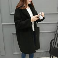 羊羔绒外套女2018冬季韩版中长款羊羔毛皮毛一体大衣毛绒 黑色