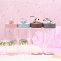 卡通玻璃杯便携杯子花茶杯创意简约清新可爱学生水杯生日礼物
