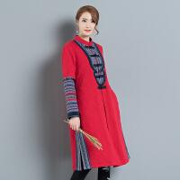中国风秋装新款女装民族风拼色立领中长款长袖防水羽绒棉外套