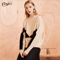 拉夏贝尔时尚毛针织衫女新款韩版宽松毛衫气质外衣长袖套头毛衣