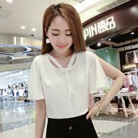 2018夏季新款韩版雪纺衫女宽松时尚圆领时尚上衣短袖打底衫