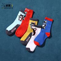 【2件3折:32.7元】小虎宝儿男童袜子薄款透气春秋款儿童运动中长筒棉袜潮款