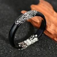 925银黑玛瑙泰银开口手镯 银饰品 复古手镯女首饰 B6
