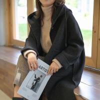 2018秋冬新款小妮子羊绒大衣韩版纯羊毛连帽斗篷毛呢外套女中长款 黑 S