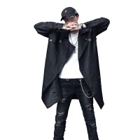 18秋冬装男式潮流非主流夜店美发师风衣韩版宽松型青年中长款外套