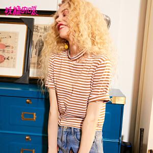 妖精的口袋2018新款条纹短款纯棉文艺chic气质短袖t恤女