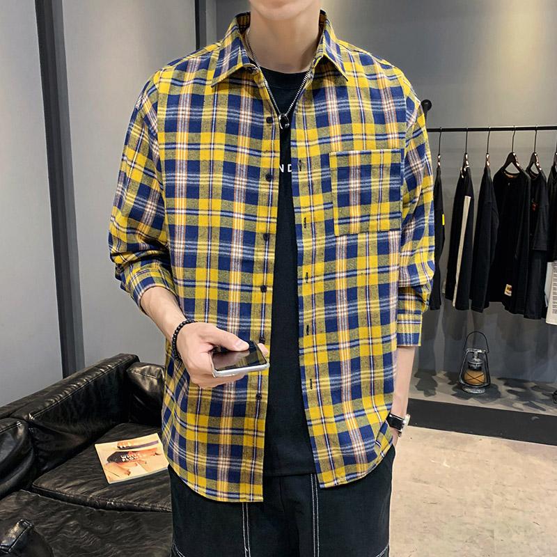 长袖衬衫春秋韩版潮流青少年学生男格子休闲衬衣男生宽松外套衣服