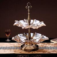欧式水晶果盘套装创意时尚现代家居客厅玻璃大号水果盘
