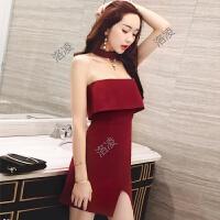 性感抹胸连衣裙女夏新款气质18-25岁荷叶边修身显瘦包臀短裙