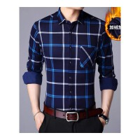 冬季格子保暖衬衫男长袖韩版修身加绒加厚衬衣中年印花休闲寸衫潮