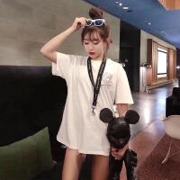 香港潮牌19限定款后背大M字母镶钻骷髅T恤男女装情侣纯棉大码短袖 白色后背大字母(现货)