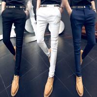 夏季韩版男土修身小脚西装裤 发型师紧身纯黑西裤体闲长裤子