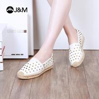 jm快乐玛丽2018春夏季新款铆钉麻底平底一脚蹬帆布鞋女布鞋01286W