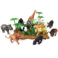 纽奇仿真动物模型大象玩具老虎狮子大象玩具河马犀牛野生动物园