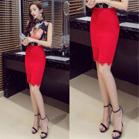 开叉包臀裙半身裙高腰大码蕾丝拼接弹力黑色显瘦韩版职业装一步裙