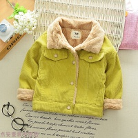 冬季5男童外套加绒加厚冬装婴儿宝宝灯芯绒上衣1-4岁儿童保暖棉衣秋冬新款 黄色 潮童外套