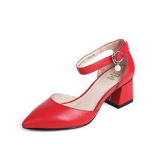 Tata/他她夏季羊皮时尚玛丽珍鞋尖头粗跟女皮凉鞋MZZ17BK7