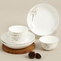【当当自营】SKYTOP斯凯绨 碗盘碟陶瓷骨瓷餐具套装8头 永恒玫瑰圆形