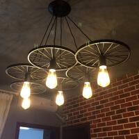 复古工业风吊灯饰怀旧理发店铺造型创意餐厅铁艺车轮灯具